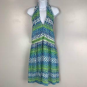 Trina Turk halter neck silk geometric dress